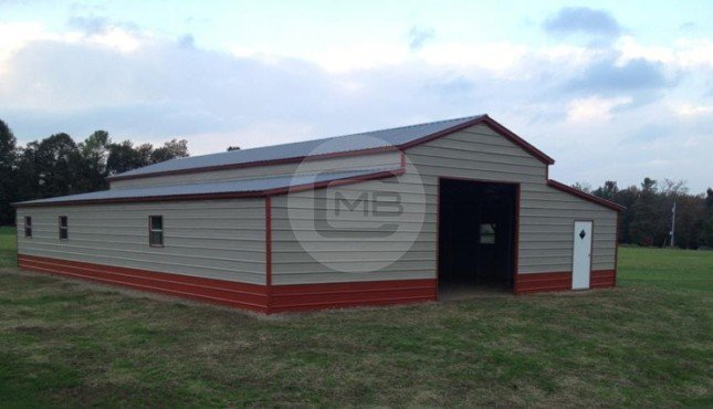 Two tone raised center barn enclosed metal barn for Metal barn pictures