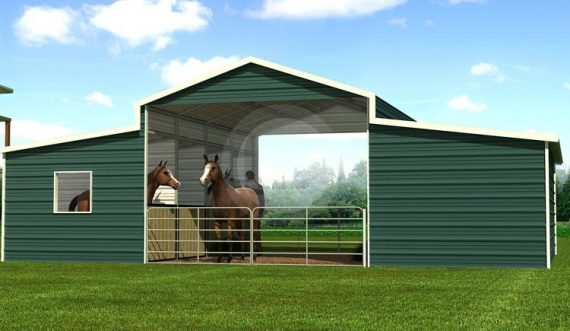 A Frame Raised Center Barn Boxed Eave Metal Barn Structure