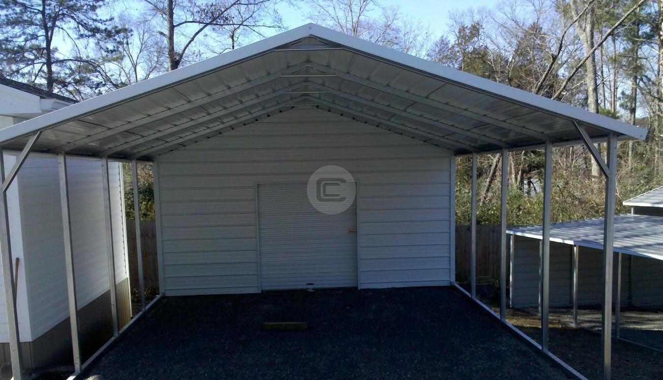 18x26 utility carport metal barn central for Carport garage combo