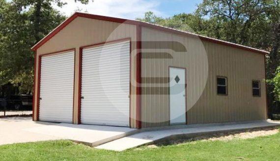 30x26 two car garage metal barn central for 2 car pole garage