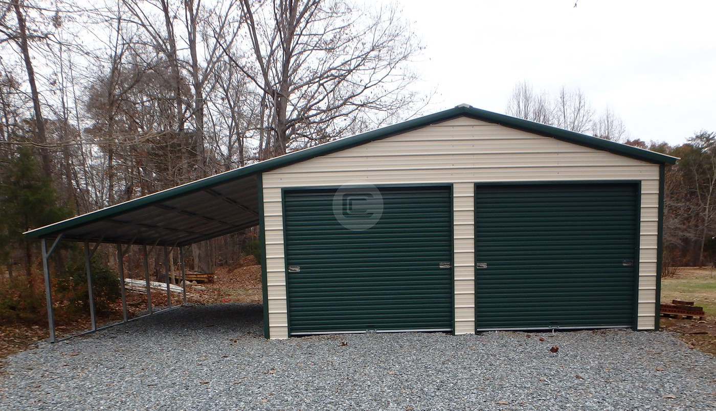 Vertical roof garage with 12 w lean to metal barn central for Garage with lean to