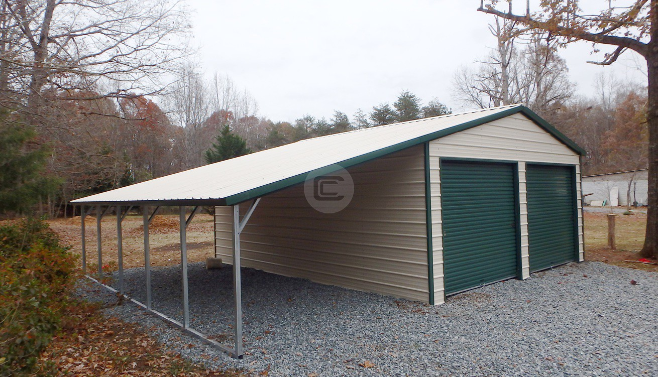 Vertical Roof Garage with 12w lean to