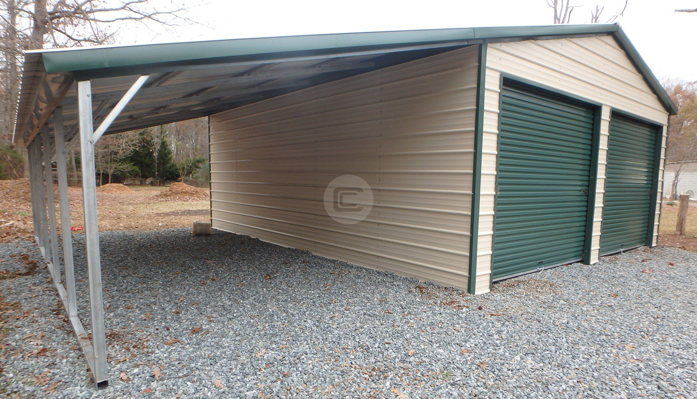 Vertical Roof Garage With 12 W Lean To Metalbarnscentral