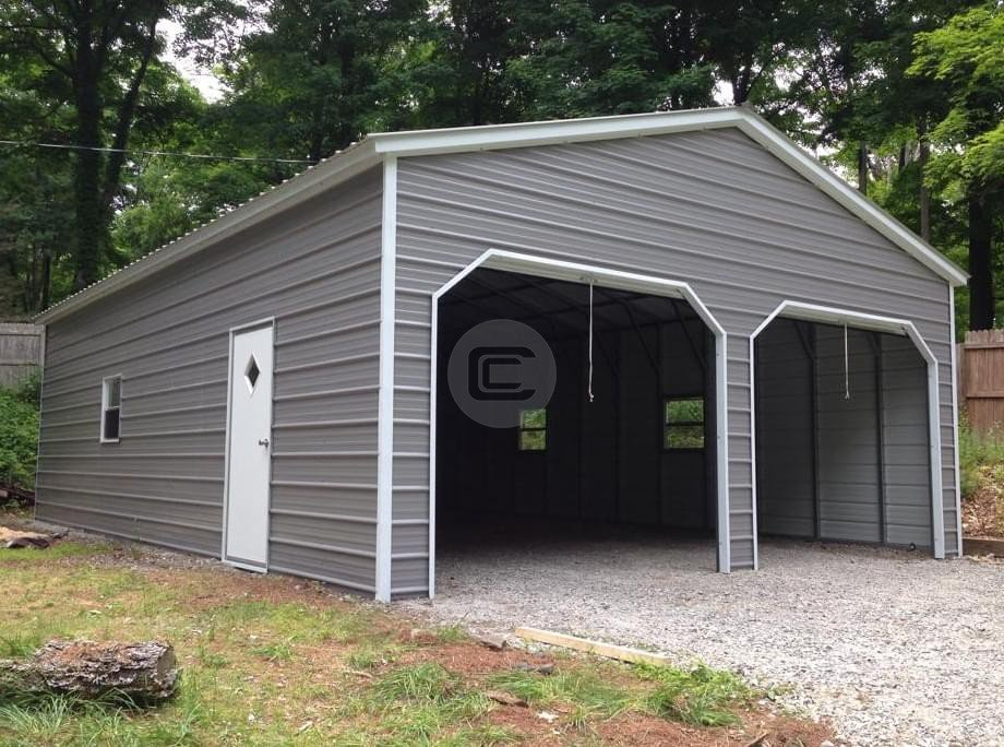 22x26 Vertical Roof Metal Garage Metal Barn Central