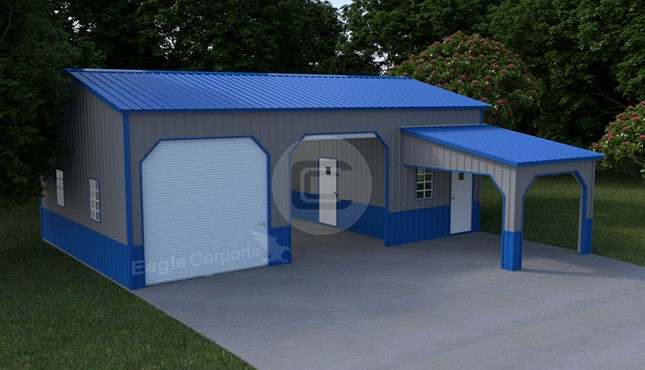 22×36 Side Entry Metal Garage with Lean-to