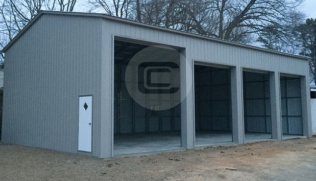 24x51 side entry garage metal barn central for Side entry garage