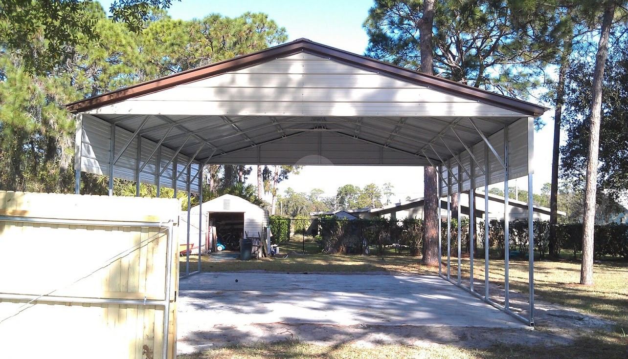 24x36 carport metal barn central for Triple carport prices