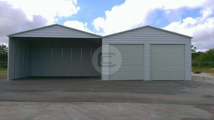 48x26x9 Carport with Garage