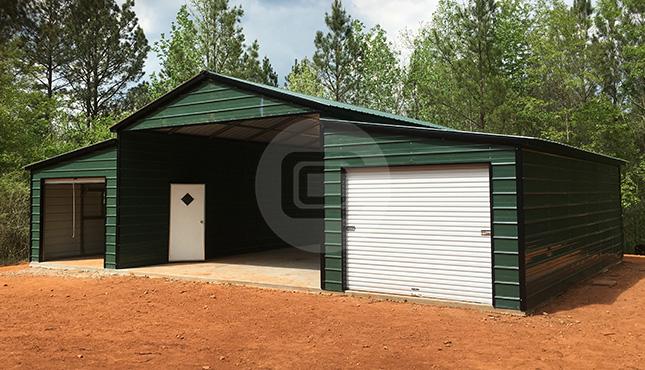 Raised Center Aisle Metal Barn 44×31