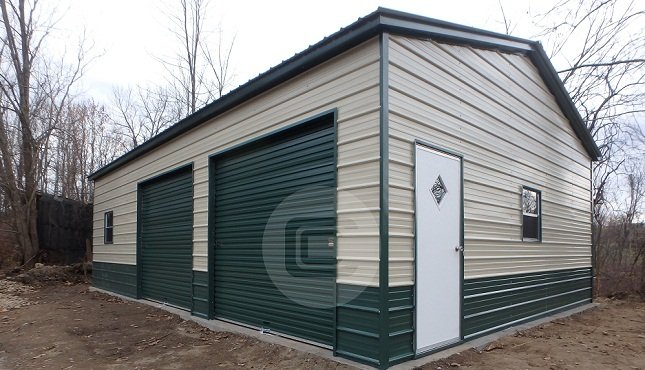 Side entry metal garage 24x31 metal barn central for Side entry garage