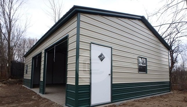 Metal barns steel buildings for sale buy carports online for Side entry garage