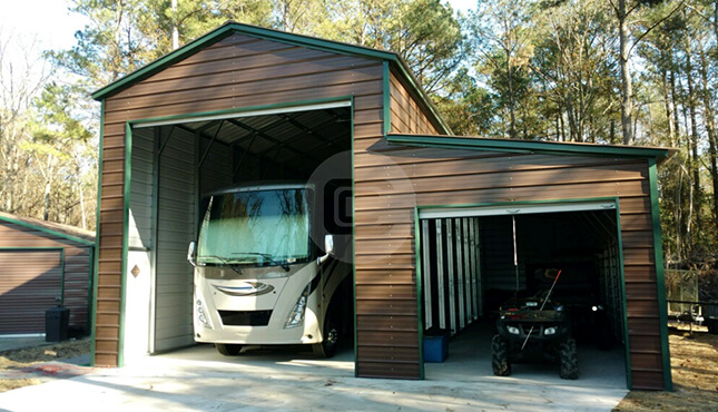 18x41x16 RV Garage with lean to