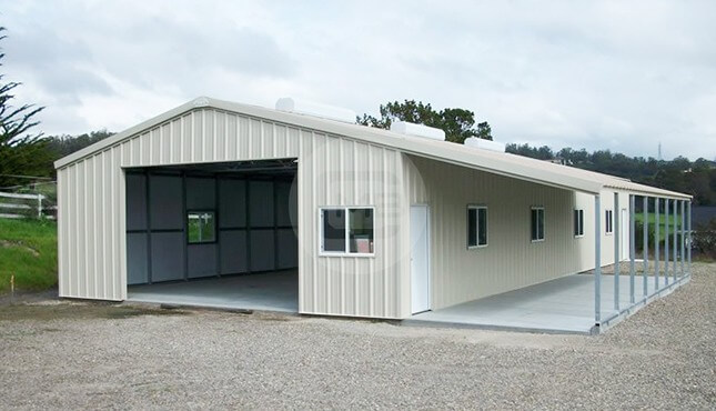 36x71 Enclosed Building with Lean to