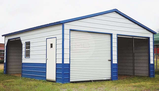 24×26 Two-tone Metal Garage