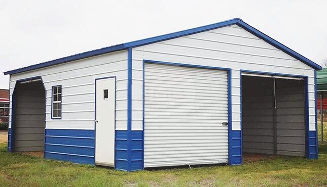24×26 Two-tone Metal Garage