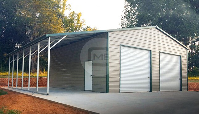 38x25 Metal Shop with Lean to