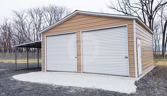 24×30 Metal Garage with Lean-to
