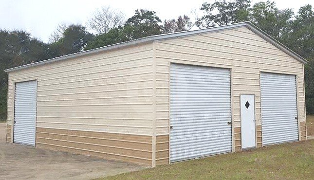 28x40 Two Tone Metal Garage