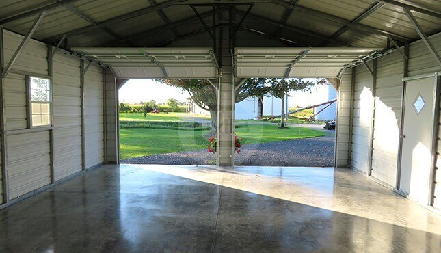 22x30-two-car garage-interior-view-with-opened-doors