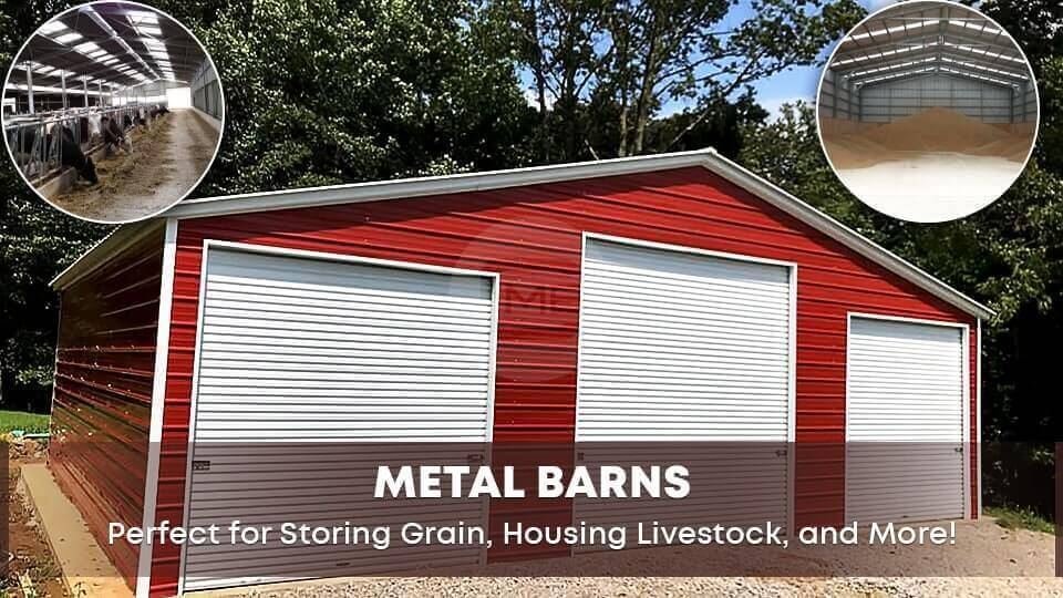 Metal Barns: Perfect for Storing Grain, Housing Livestock, and More!