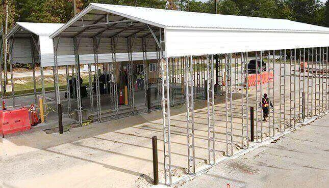 40×76 Vertical Roof RV Carport