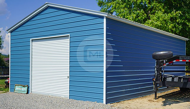 24x35 Vertical Roof Metal Garage