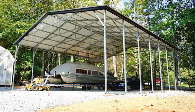 30x36 Vertical Roof Metal Boat Carport